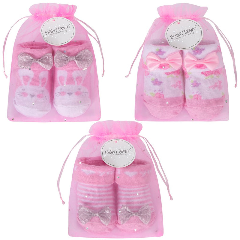 Baby Girls Socks In Gift Bag - Leeval Shop Direct