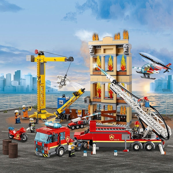 LEGO 60216 City Downtown Fire Brigade Crane Truck Copter Set - Leeval Shop Direct