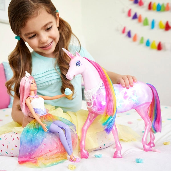 Barbie Dreamtopia Magical Lights Unicorn - Leeval Shop Direct