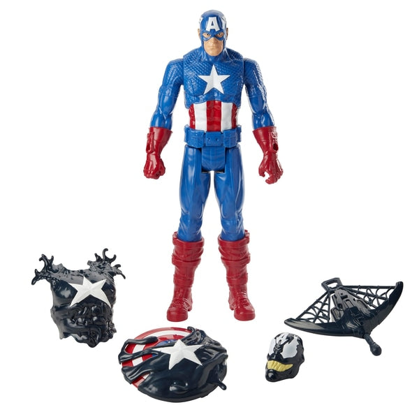 Spider-Man Maximum Venom Titan Hero Venomised Captain America 30cm Figure - Leeval Shop Direct