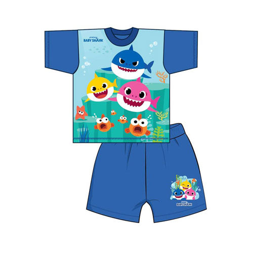 Boys Baby Shark Shortie Pyjamas - Leeval Shop Direct