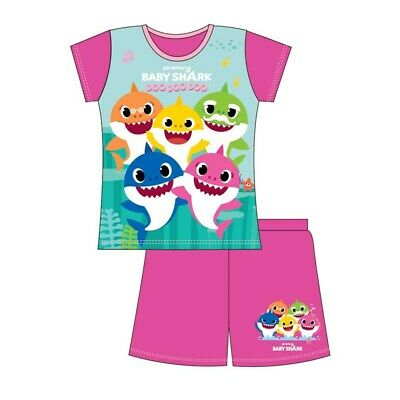 Girls Baby Shark Shortie Pyjamas - Leeval Shop Direct
