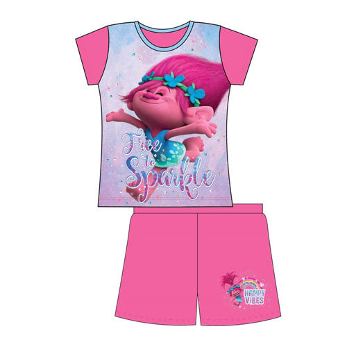 Girls Trolls Shortie Pyjamas - Leeval Shop Direct