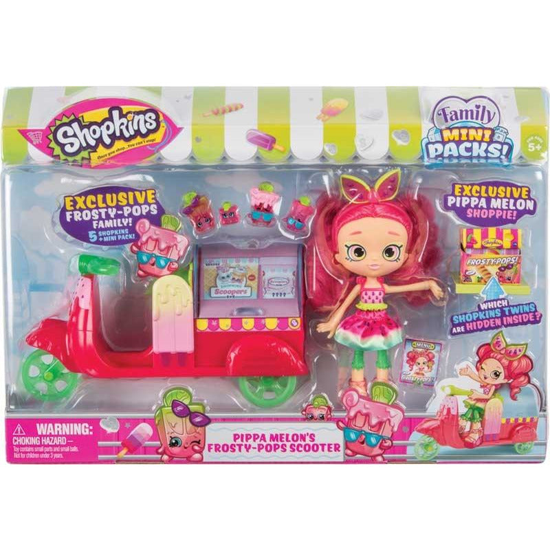 SHOPKINS FAMILY MINI PACKS PIPPA MELONS POPSICLE SCOOTER - Leeval Shop Direct