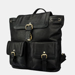 Finelaer Women Vintage Black Leather Backpack