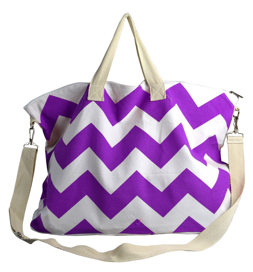 Peach Couture Chevron Canvas Weekender