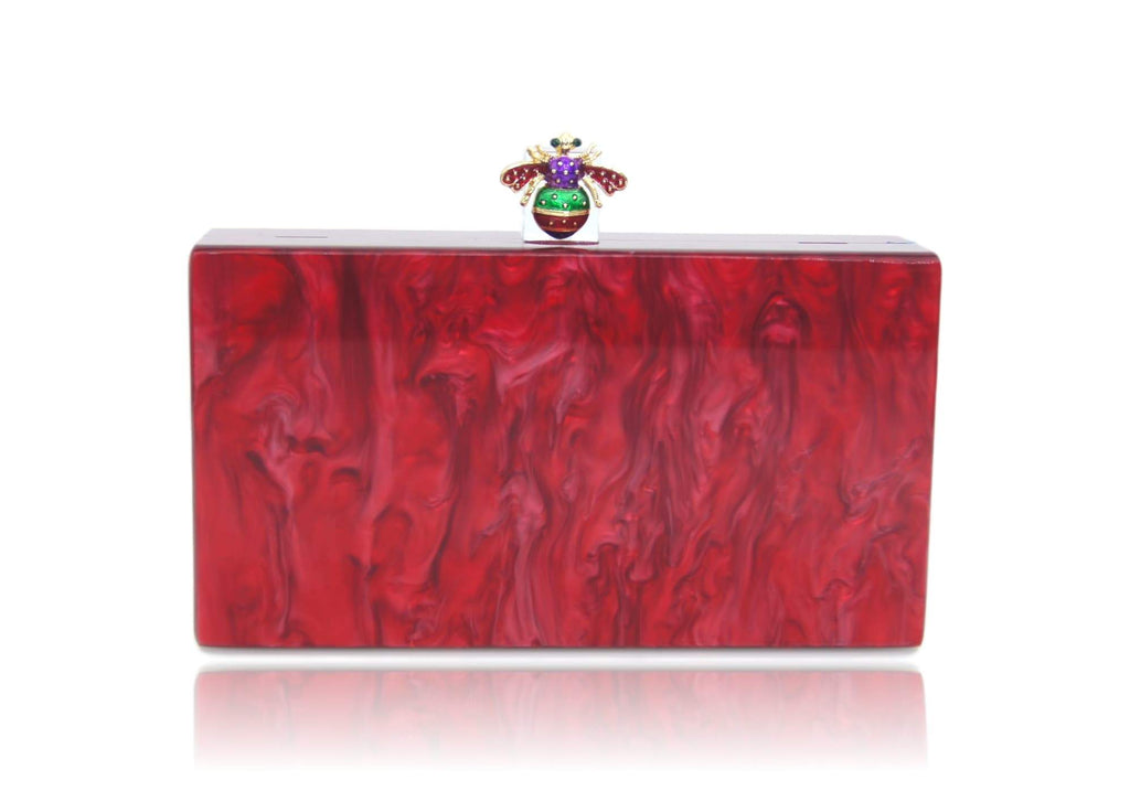 MilanBlocks Bee Red Pearl Acrylic Box Clutch