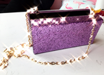 MilanBlocks Purple Glitter Acrylic Box Clutch