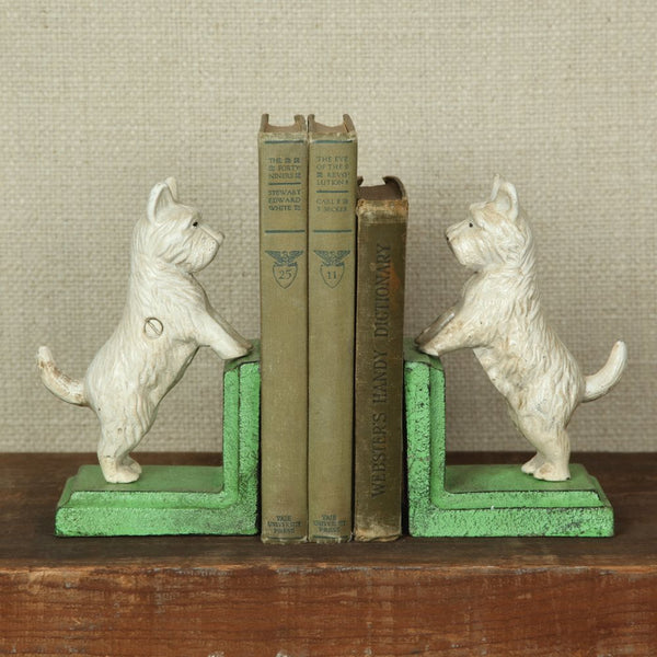 Standing Westie Bookend - Cast Iron - White