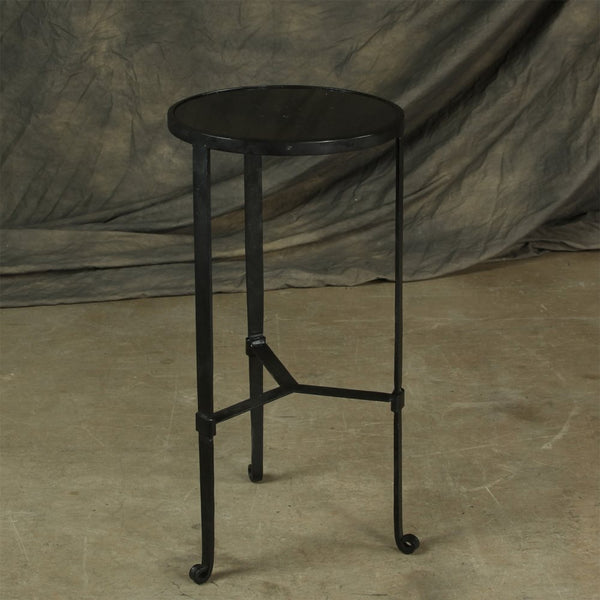 Savoy Iron & Stone Side Table - Black with Grey Stone