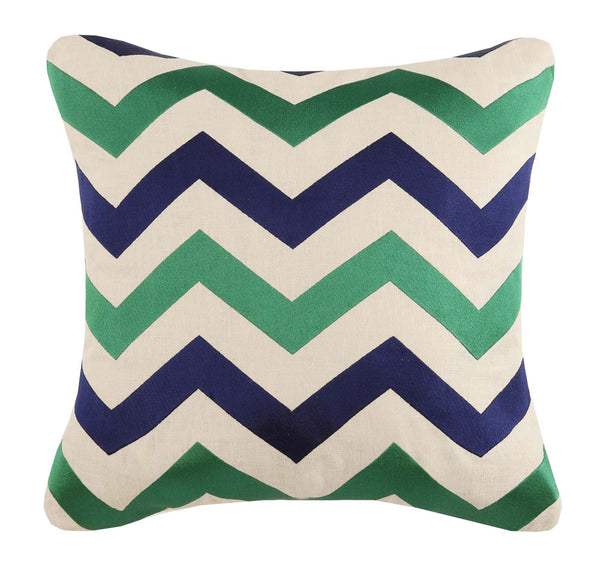 Jackson Embroidered Pillow - Emerald/Navy