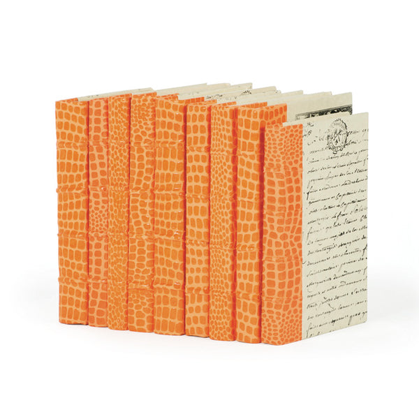 Linear Foot of Faux Croc Orange Books