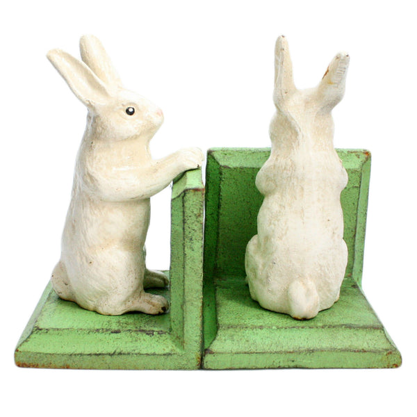 Bunny Bookends - Cast Iron - White