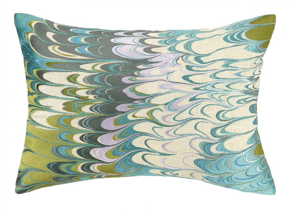 Marble Madness Embroidered Pillow - Lime