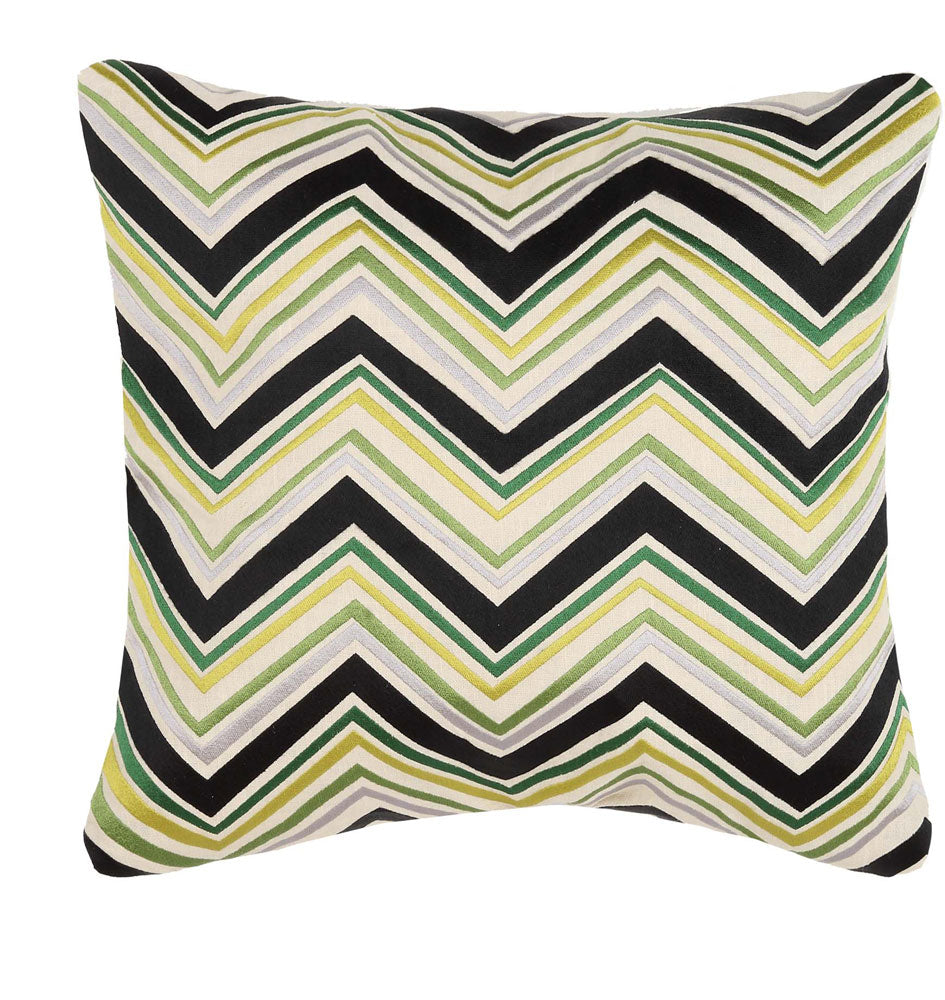 Lightning Embroidered Pillow - Green