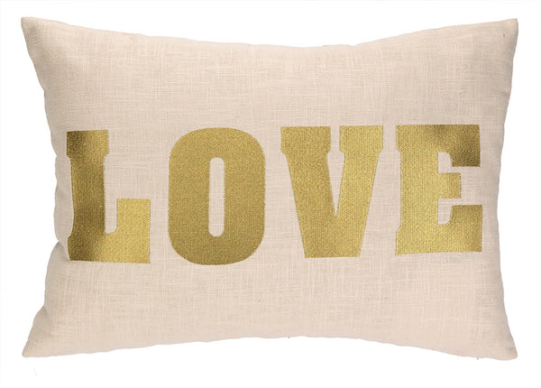 Golden Love Embroidered Pillow