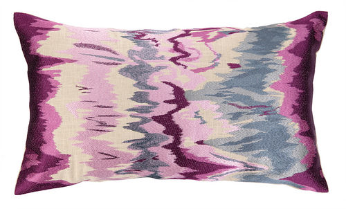 Seismograph Plum Embroidered Pillow