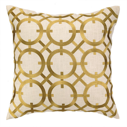 Parisian Lights Gold Embroidered Pillow