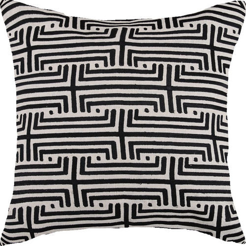 Labyrinth Graphite Embroidered Pillow