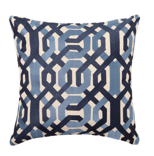 Galway Blue Embroidered Pillow