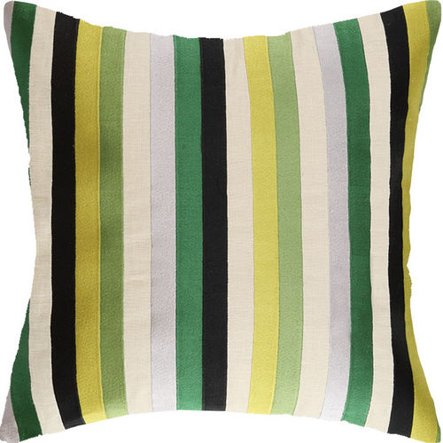 Straight Up Green Embroidered Pillow