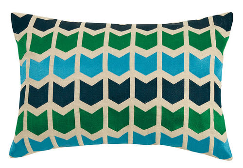 On Point Green/Multi Embroidered Pillow