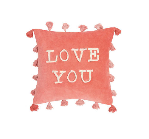 Love You Tassels Embroidered Pillow