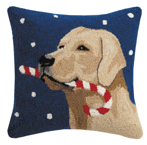 Golden Lab with Candy Cane Pillow