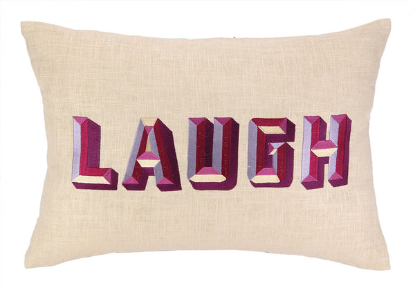 Laugh Embroidered Pillow