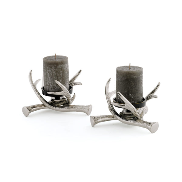 Pair Of Antler Pillar Holders