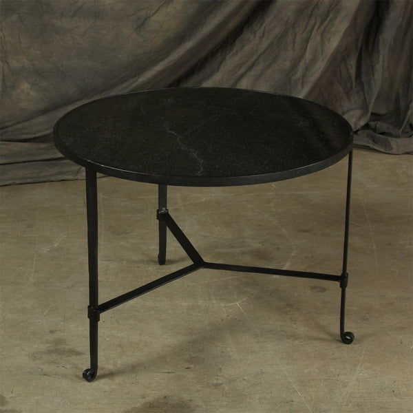 Savoy Iron & Stone Coffee Table - Black with Grey Stone