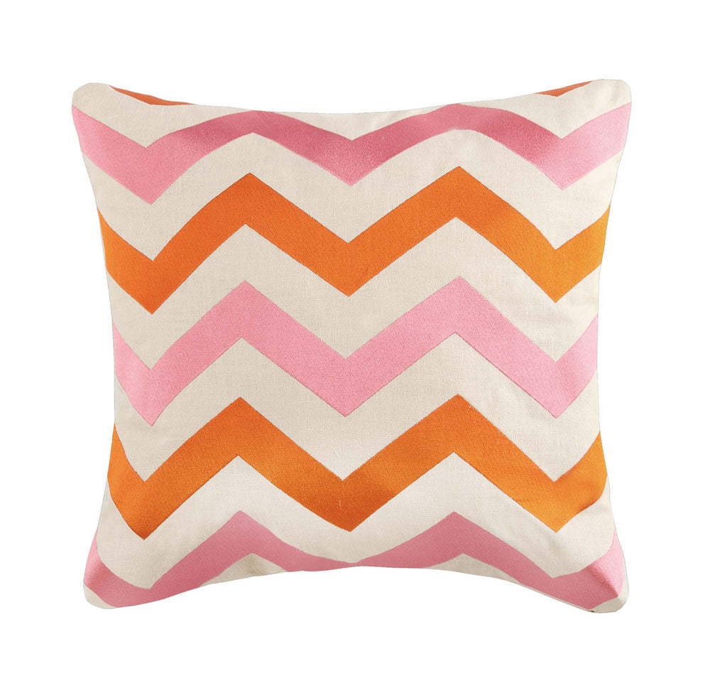 Hayden Embroidered Pillow - Orange/Pink