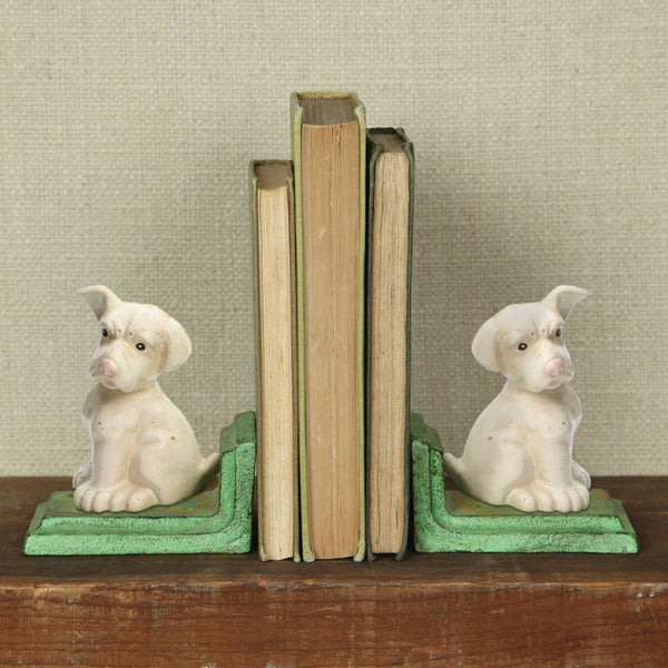 White Puppy Bookends - Cast Iron - White