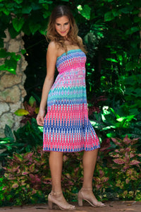 Blue Ikat Strapless Dress