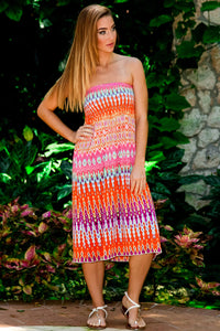 Pink Ikat Strapless Dress