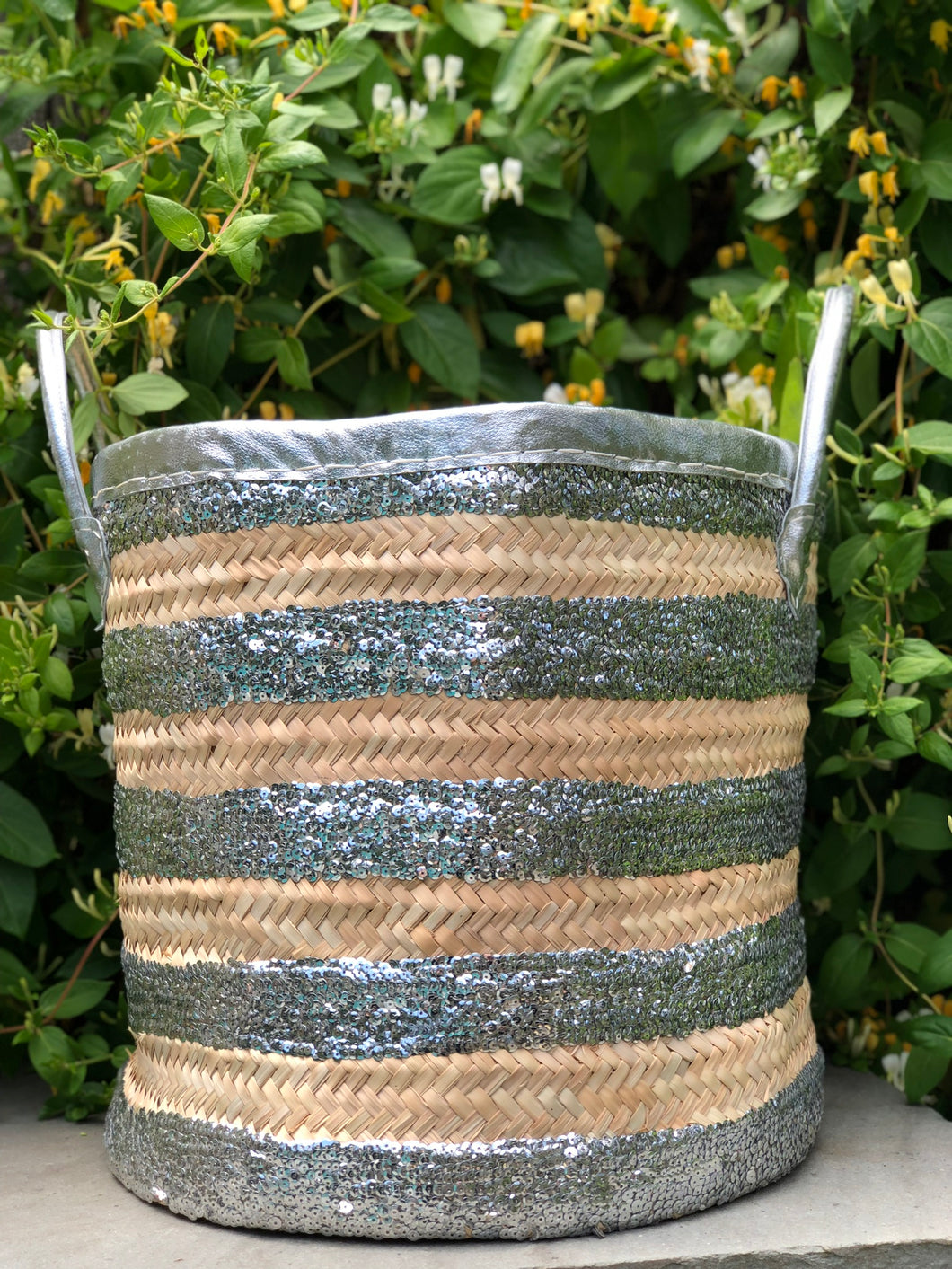 Silver Stripe Storage Basket
