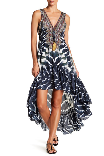 Black Zebra Batik HiLo Dress