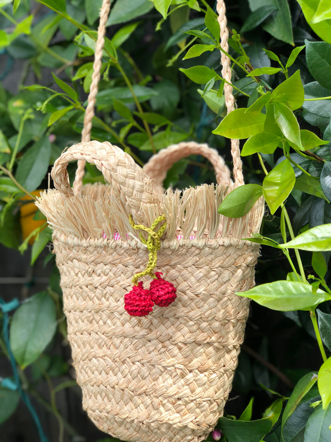 Mini Frayed Top Cherry Tote