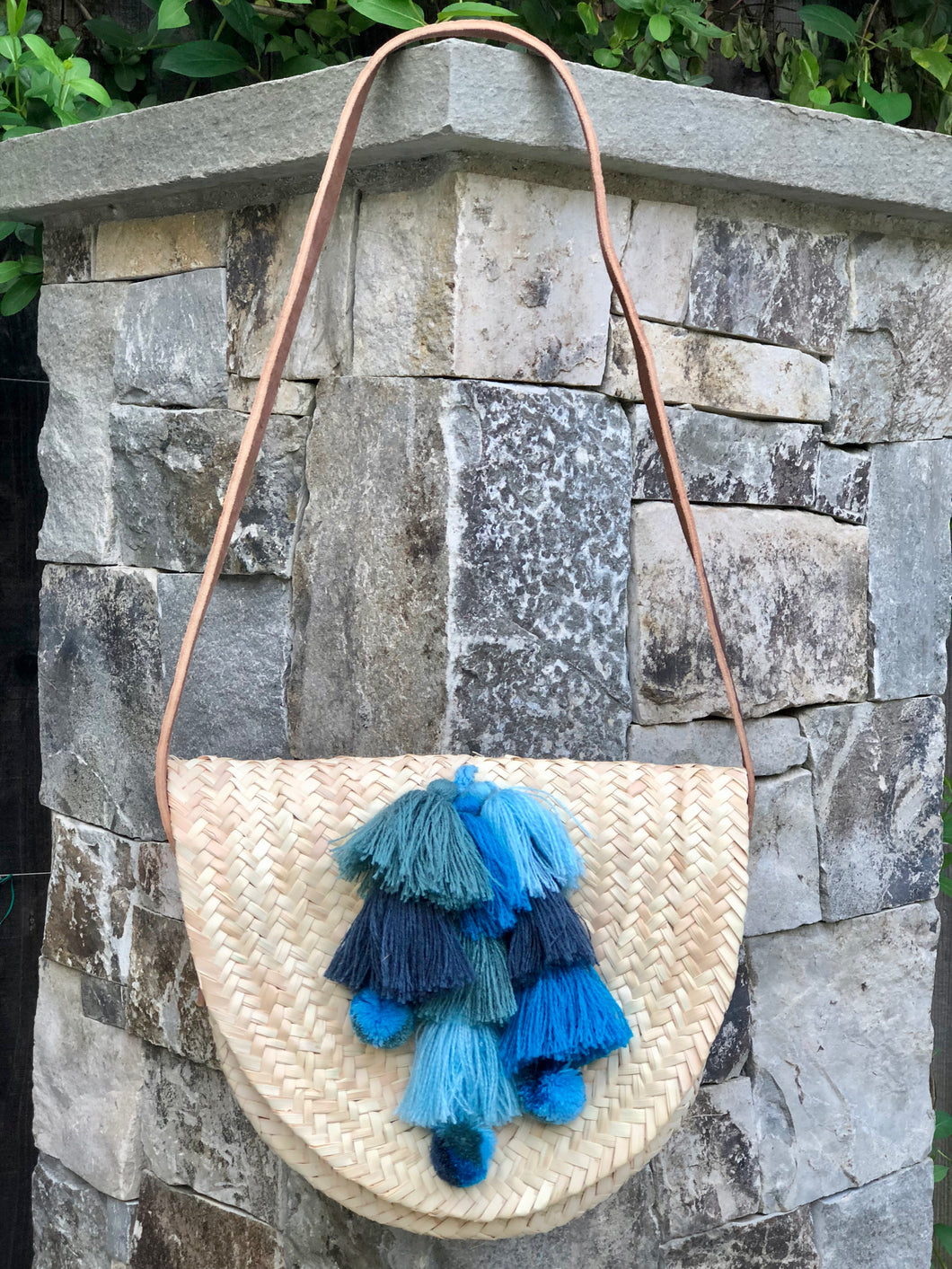 Leather Strapped Blue Tassel Bag