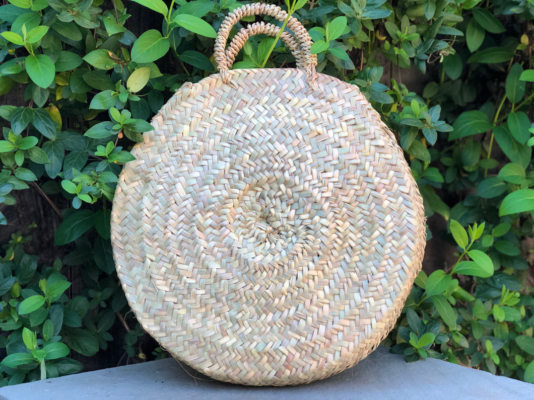 Round Large Raffia Handle Bag