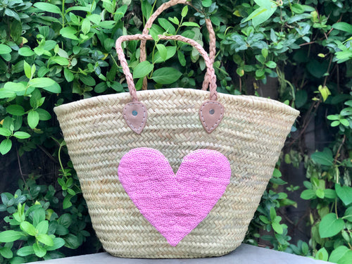 Sequin Pink Heart Bag