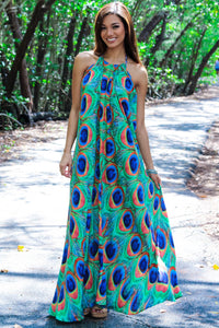 Peacock Halter Dress