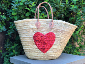 Sequin Red Heart Bag
