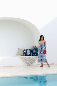Ikat Strapless Dress Indigo