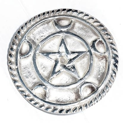Pentagram with Crescents Altar Tile ~ Silver Plated  3""