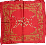 "Triple Moon Pentagram Altar Cloth ~ 18""x18"" Red Rayon"
