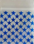 "100 Clear with Blue Stars ReSealable Plastic Storage Bags ~ 2"" x 2"""