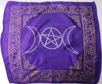 "Triple Moon Pentagram Altar Cloth ~ 18""x18"" Purple Rayon"