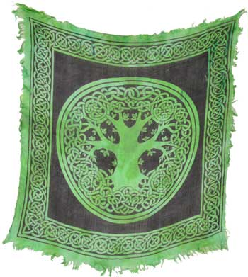 "Green Celtic Tree of Life Altar Cloth ~ 18"" x 18"""