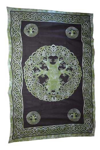 "Green Celtic Tree of Life Tapestry  ~ 72"" x 108"""